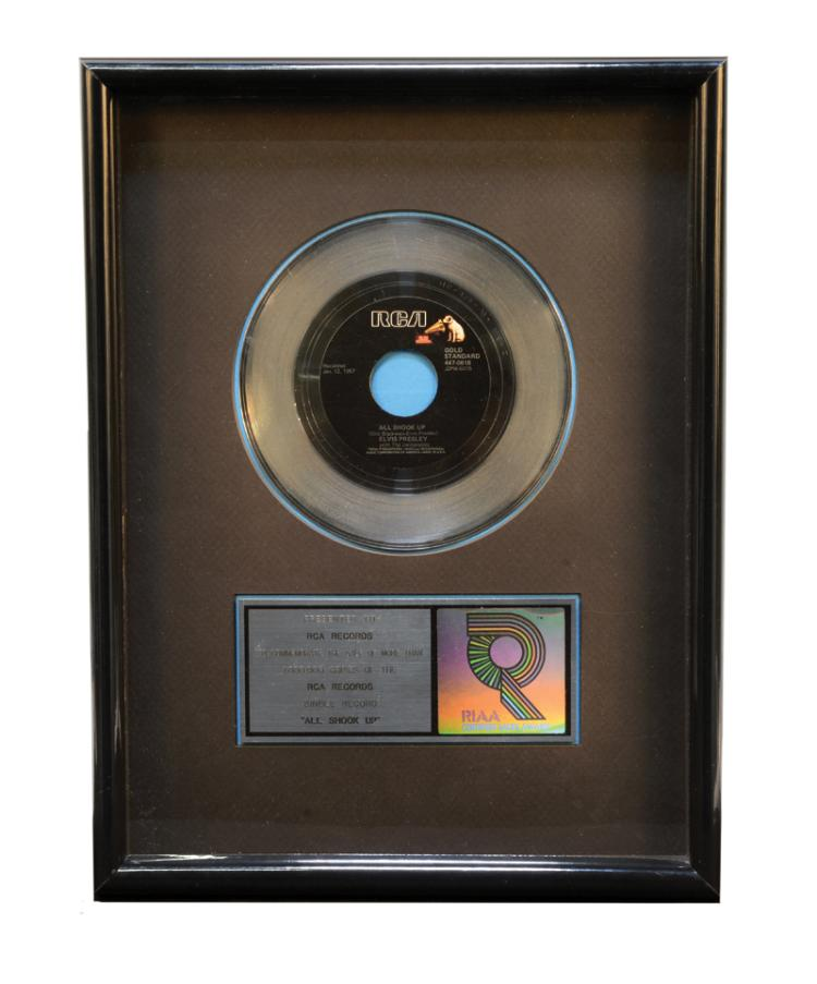 RIAA Platinum Award for Elvis Presley 1957 Single