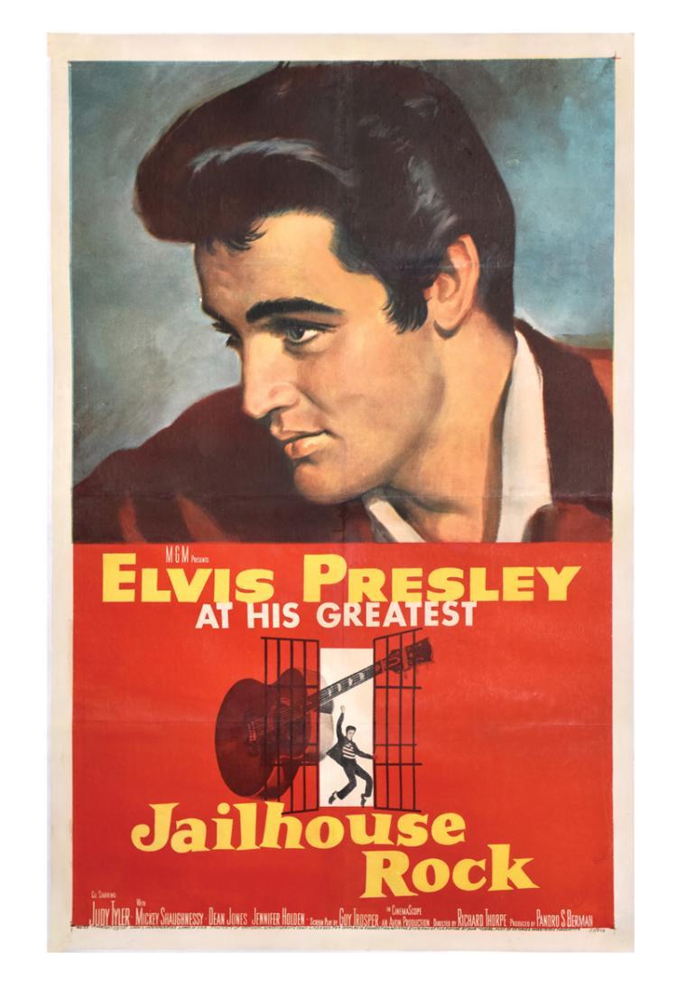 1957 Jailhouse Rock One Sheet Movie Poster - Starring Elvis Presley