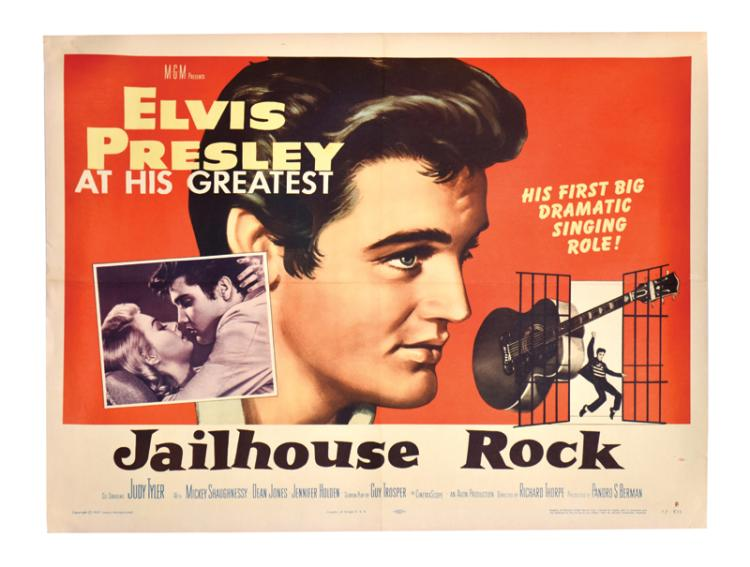 1957 Jailhouse Rock Half-Sheet Movie Poster - Elvis Presley's Iconic Third Film