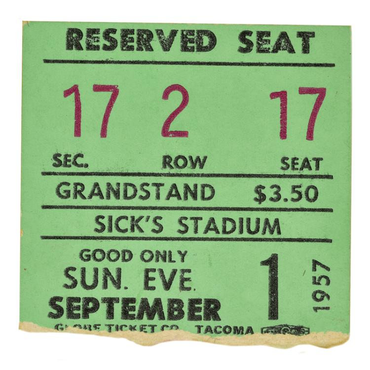 September 1, 1957 Elvis Presley Seattle, Washington Concert Ticket with