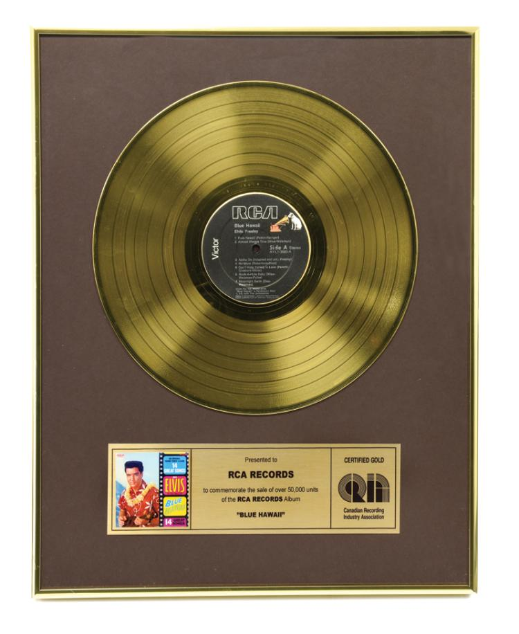 Canadian Gold Record Awarded to RCA for Elvis Presley's 1961 <em>Blue Hawaii</em> Soundtrack Album