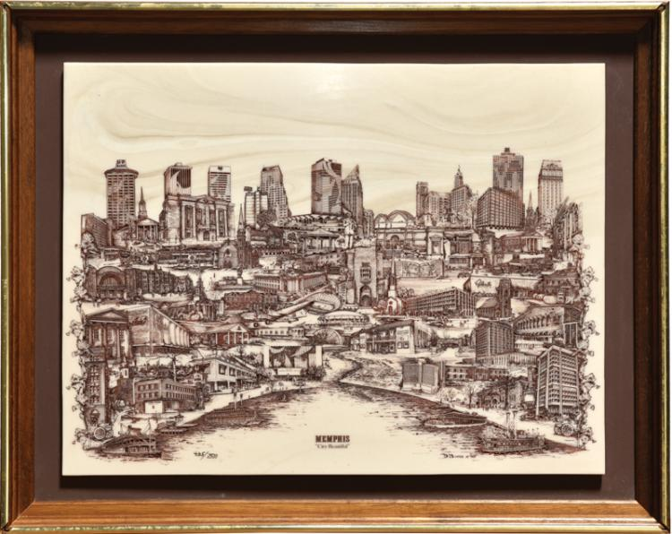 Memphis / City Beautiful Marble Etching from Colonel Parker's Office - Shows Elvis Presley's Graceland as One of the Landmarks - 1975 Limited Edition (#435/2500)
