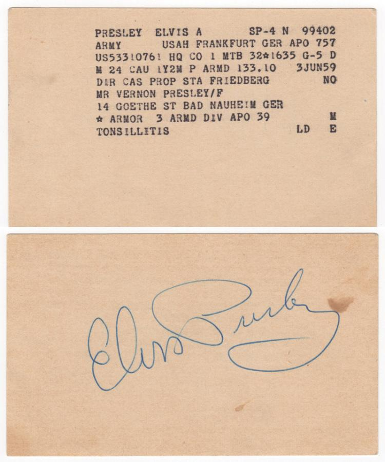 Elvis Presley Signed Frankfurt Hospital Admission Index Card - Signed When Treated for Tonsillitis in Germany During His Army Service