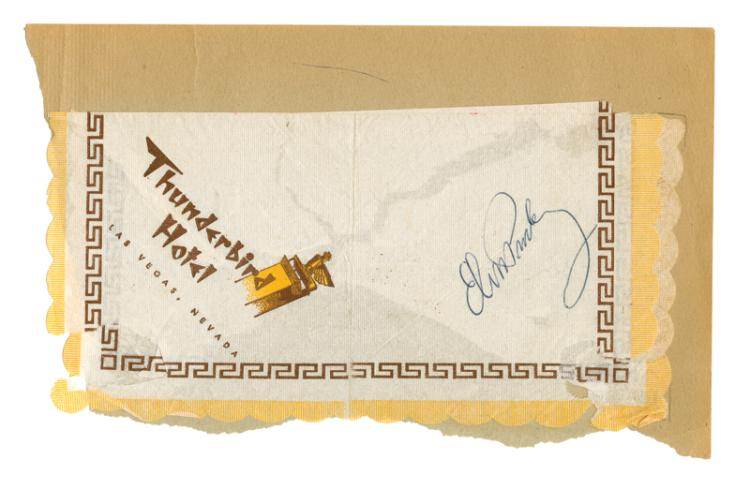 1963 Elvis Presley Signed Thunderbird Hotel Cocktail Napkin - Signed in Las Vegas while Filming <em>Viva Las Vegas</em>