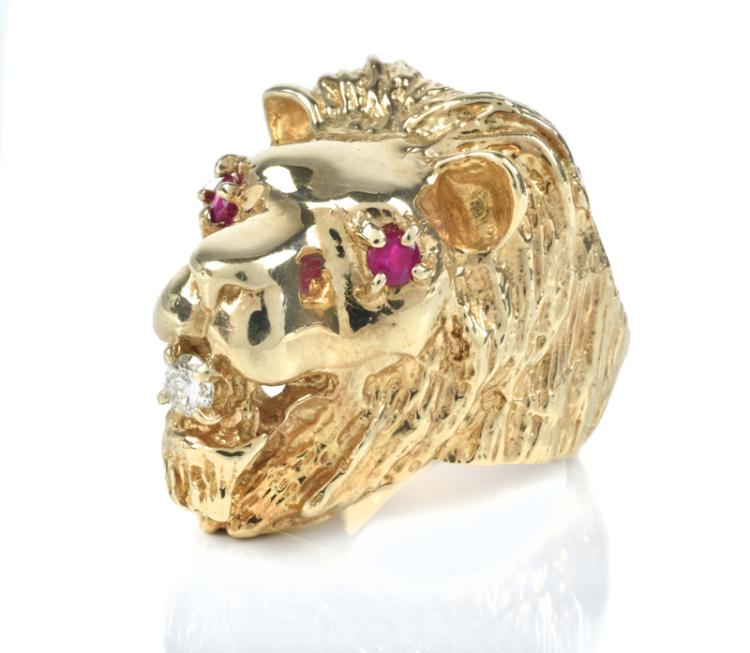 1970 Lion Head Diamond and Ruby Ring Worn by Elvis Presley - Gifted by Elvis to Tour Promoter Tom Hulett