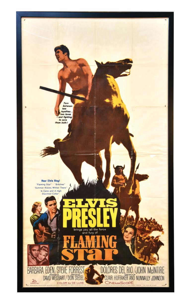 1960 Flaming Star Three-Sheet Movie Poster - One of Elvis Presley's Finest Performances - Beautifully Framed