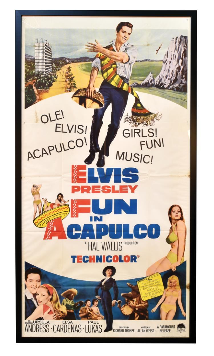 1963 <em>Fun in Acapulco</em> Three-Sheet Movie Poster in Impressive Framed Display - Starring Elvis Presley