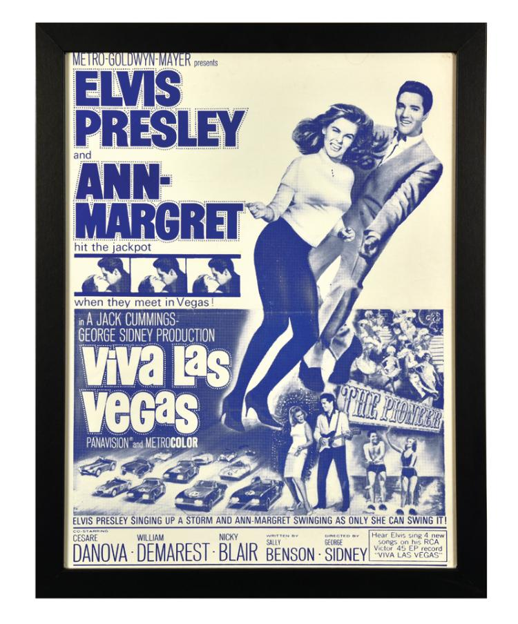 1964 Viva Las Vegas Unusual Single-Color Movie Poster in Framed Display - Starring Elvis Presley and Ann-Margret