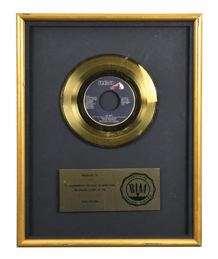 RIAA Gold Record Award Presented to Elvis Presley for 45 RPM Single