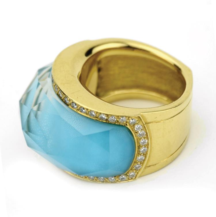 Lisa Marie Presley's Diamond and Turquoise Ring by Stephen Webster Gifted by Nicolas Cage
