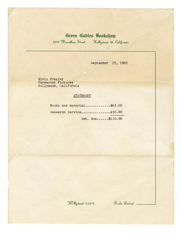 1965 Green Gables Bookshop Account Statement for Elvis Presley