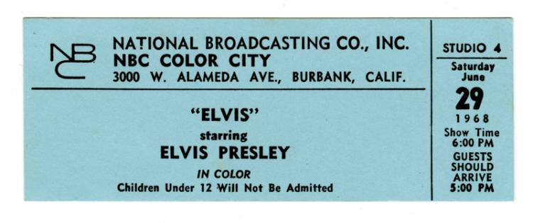 Original Ticket from Elvis Presley's 1968 NBC