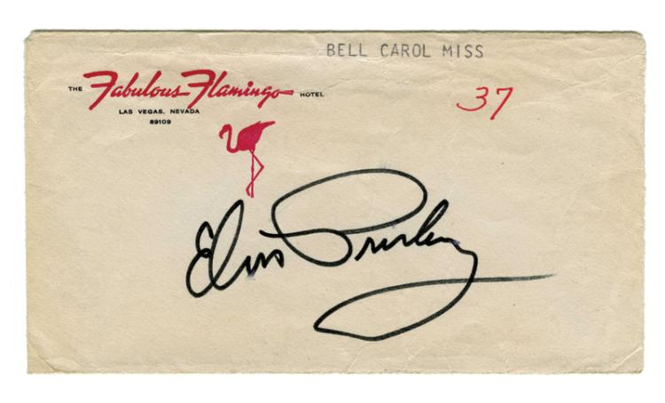 Elvis Presley Signed Flamingo Hotel Envelope - Signed in 1969 While in Las Vegas for International Hotel Engagement Contract Signing