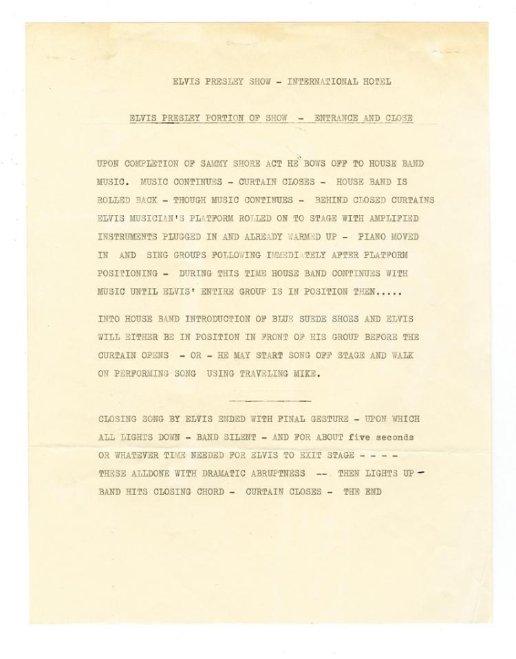 1969 Felton Jarvis Show Outline and Song List for Elvis Presley's 1969 International Hotel Engagement