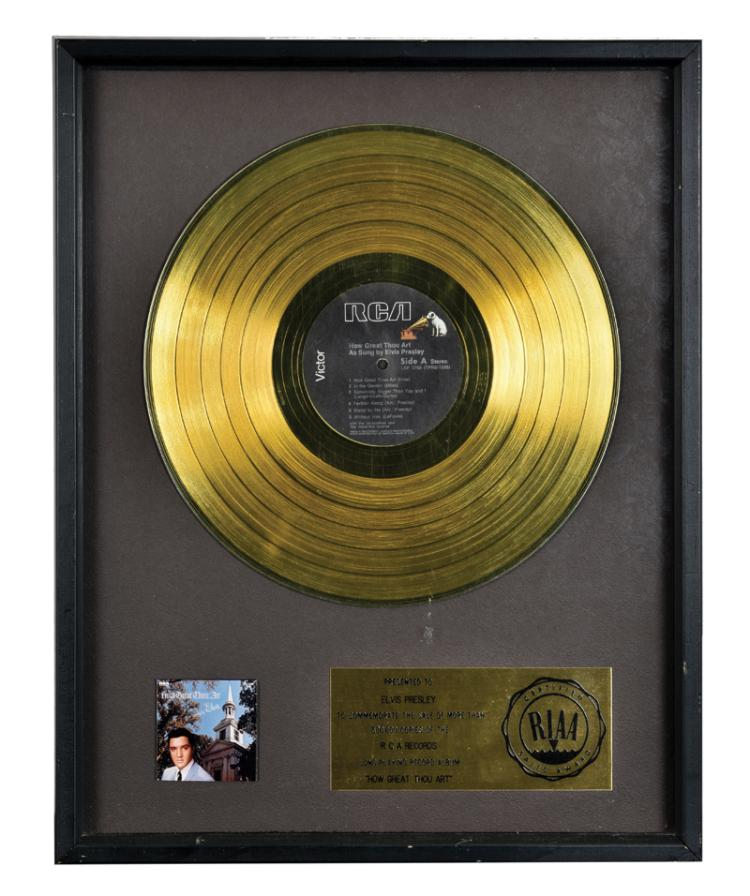 1967 RIAA Gold Record Award for Elvis Presley's Album <em>How Great Thou Art</em> Presented to Elvis Presley