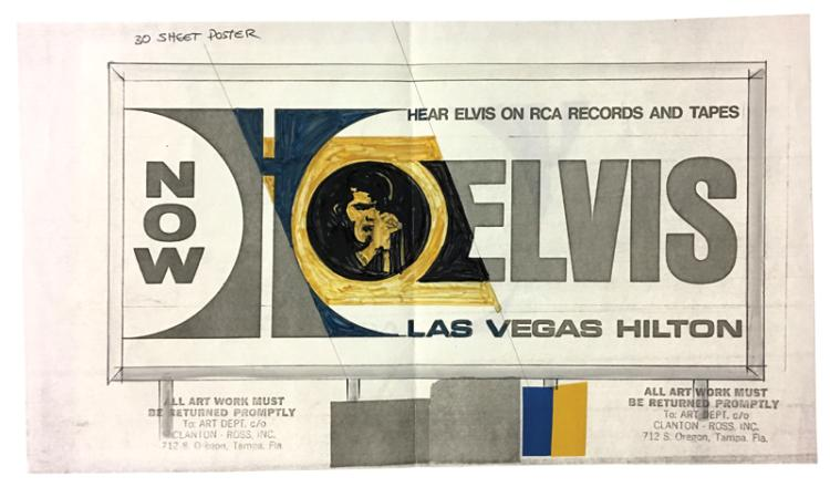 Original Artwork for Billboard Promoting Elvis Presley's Appearance at the Las Vegas Hilton