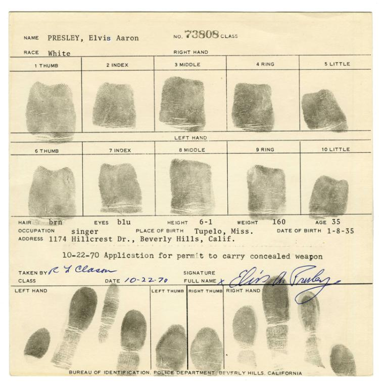 Complete Set of Elvis Presley's Fingerprints on 1970 Beverly Hills Police Department Application for Permit to Carry a Concealed Weapon
