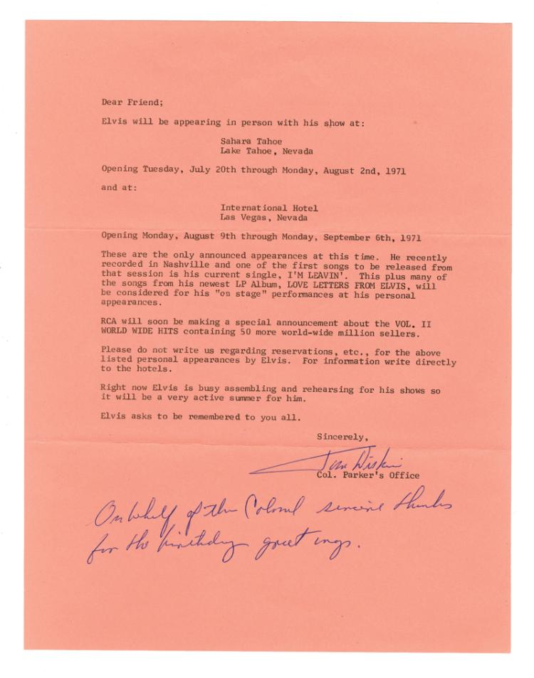 1971 Letter from Colonel Parker's Office Signed and Hand-Annotated by Tom Diskin with Elvis Presley Content and Original Envelope