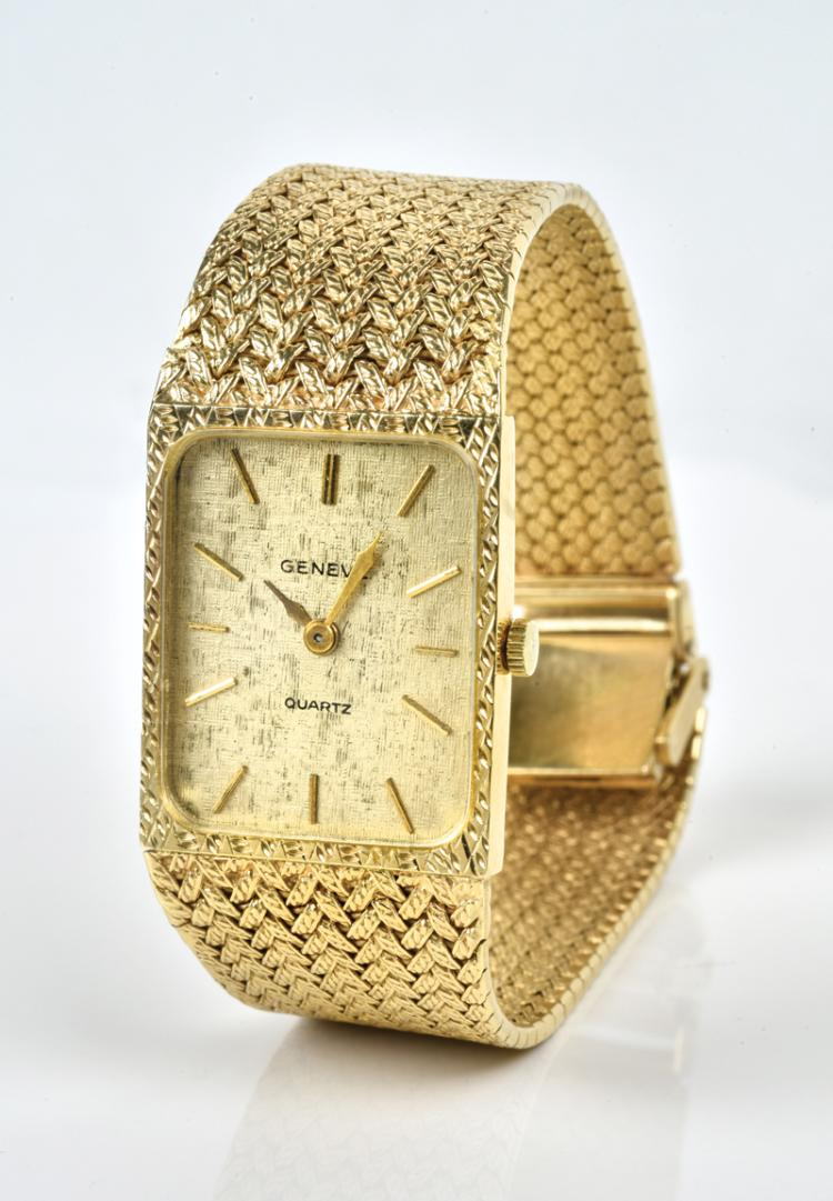 Elvis Presley Owned 14k Gold Geneve Wristwatch Gifted to Head Pharmacist at Schwab's Pharmacy in Hollywood