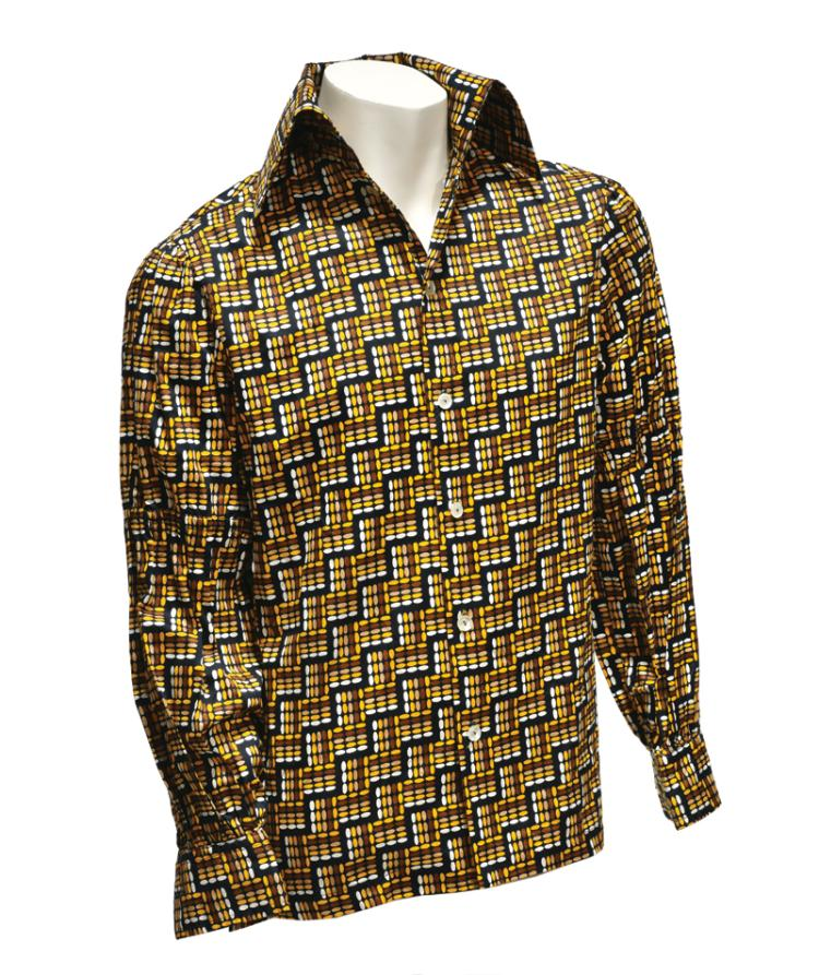 Elvis Presley Owned and Worn Button Down Shirt Gifted to Stamps Member Larry Strickland During 1976 Jungle Room Recording Sessions