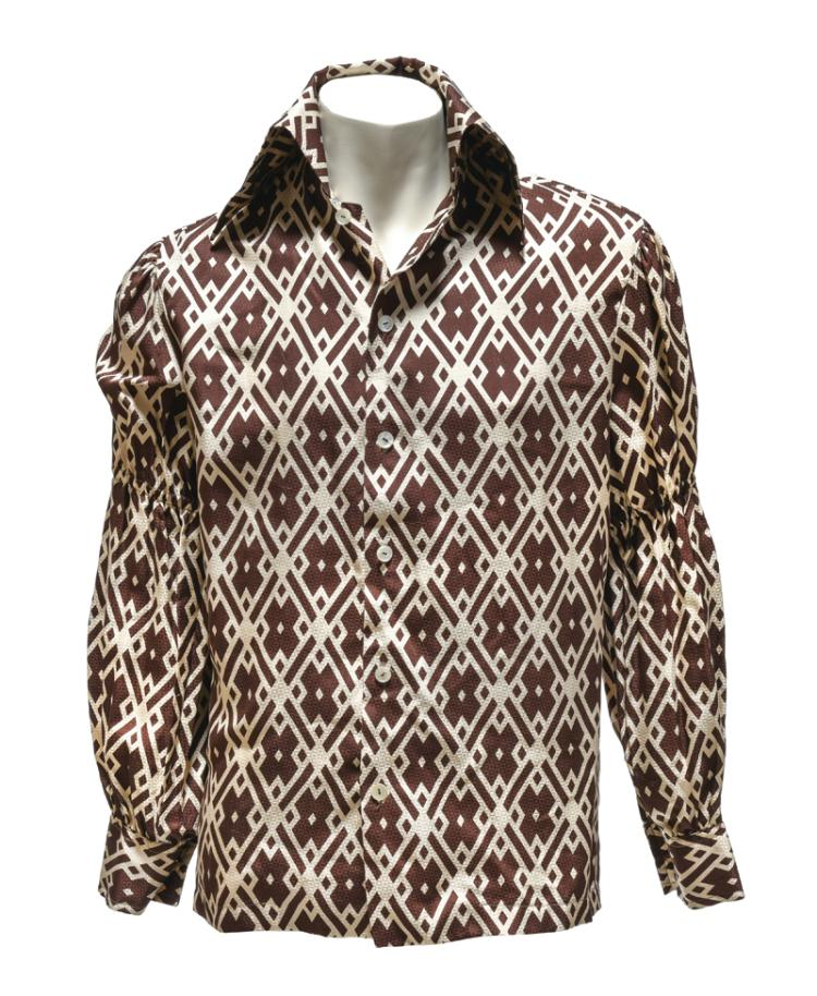 Elvis Presley Owned and Worn Brown-and-White Diamond Pattern Button-Down Shirt Gifted to Stamps Member Larry Strickland During 1976 Jungle Room Recording Sessions