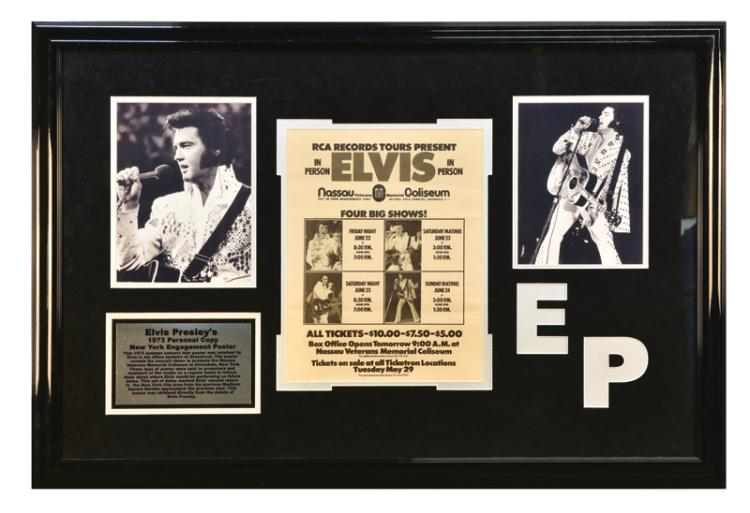 1973 Elvis Presley New York Nassau Coliseum Concert Poster Emanating from Graceland