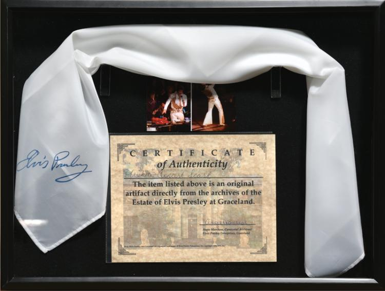 Elvis Presley Souvenir Scarf in Framed Display - Emanating Directly from Graceland