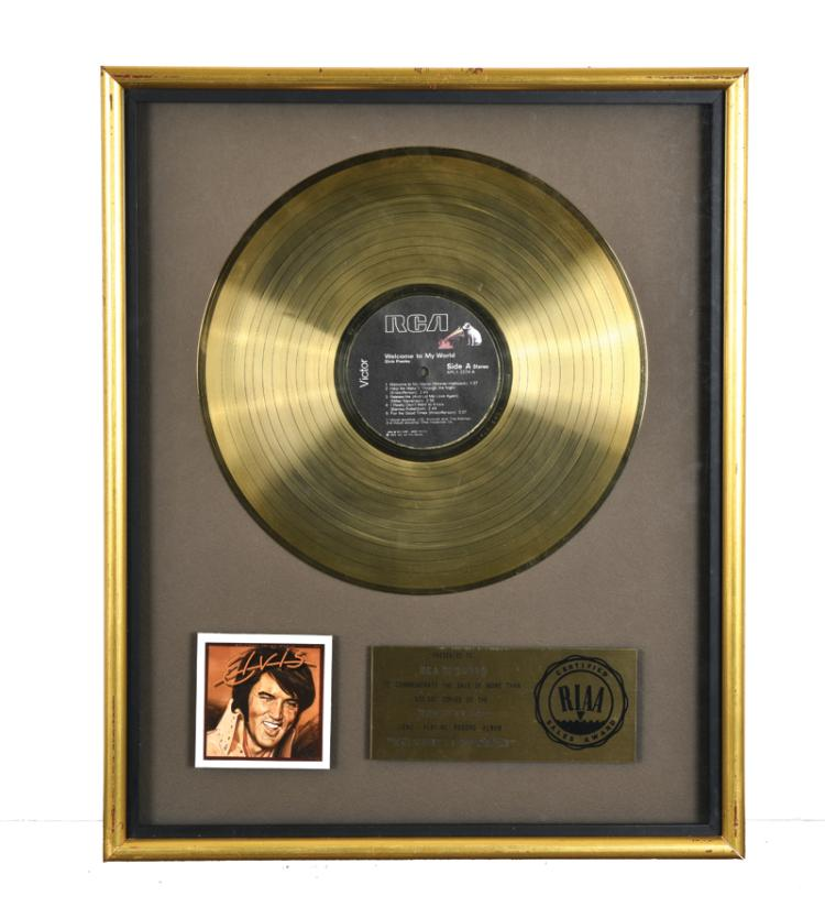 1977 RIAA Gold Record Award for Elvis Presley's Album Welcome to My World Presented to RCA Records