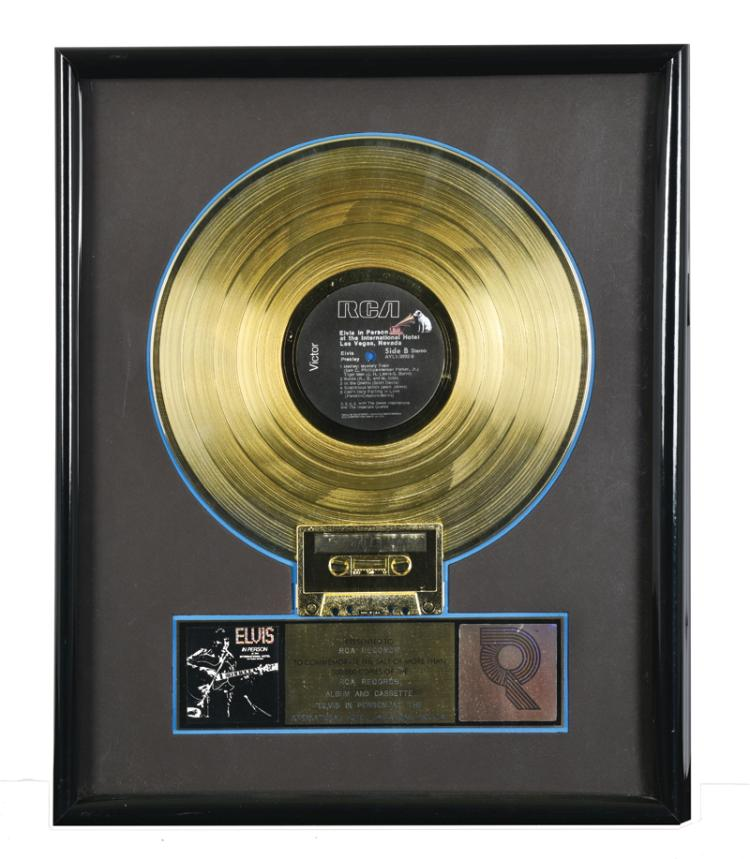 1969 RIAA Gold Record Award for Elvis Presley's Album <em>Elvis in Person at the International Hotel</em> Presented to RCA Records