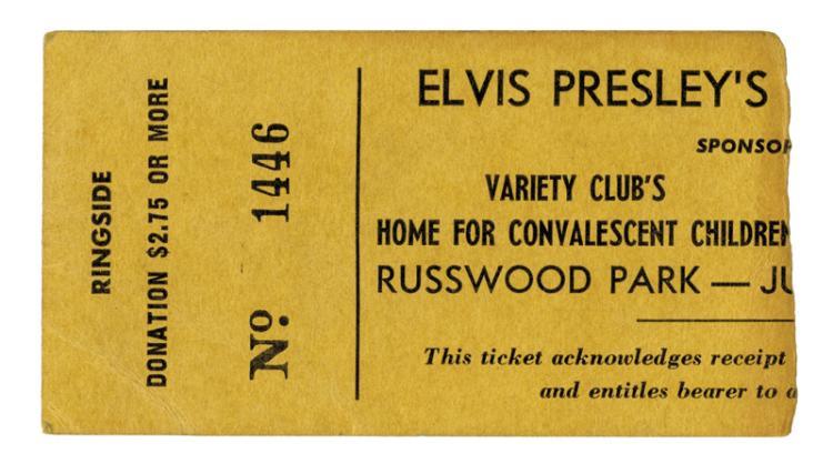 Russwood Park, July 4, 1956 Elvis Presley Concert Ticket Stub - An