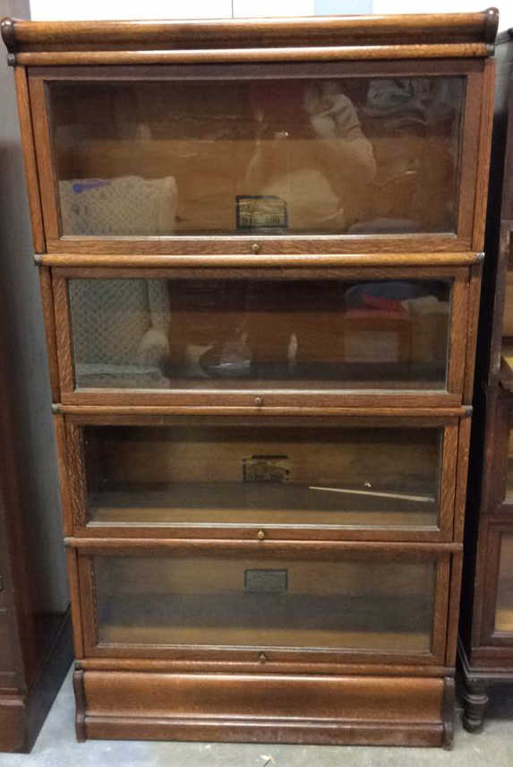 Antique Oak And Glass Barrister Bookcase