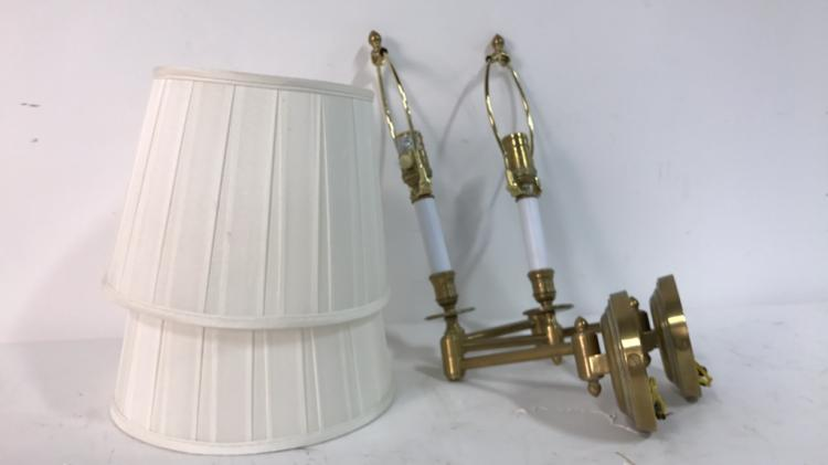 Hinged Brass Wall Lights : Pair VISUAL COMFORT Brass Hinged Arm Sconces