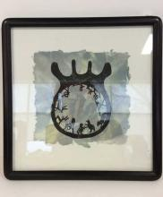Framed Ink Drawing on Handmade Paper