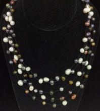 Multilayered Natural Pearl Beaded Necklace