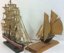 Lot 2 Nautical Sailboat Ship Sculptures