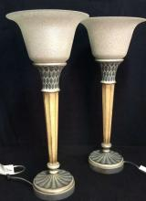 Pair Art Deco Style Wooden Lamp W Glass Shade