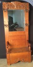 Victorian Storage Mirrored Hall Bench Rack
