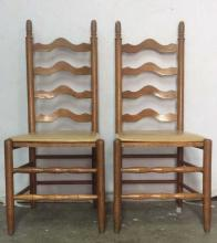 Pair Wooden Ladder Back Side Chairs