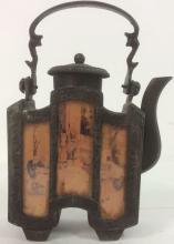 Asian Metal & Painted Panel Handled Teapot