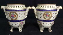 Pair Marked Footed Porcelain Cache Pots