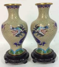 JINGFA Pair Asian Cloisonné Vases W Dragons Bases