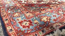 Vintage Handmade Fringed Wool Rug Carpet