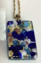 Vintage Glass Pendant Necklace Jewelry