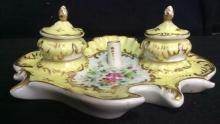 French Art Nouveau Porcelain Inkwell Set C. 1900