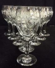 Lot 11 Floral Detailed Glass Crystal Wine Glasses