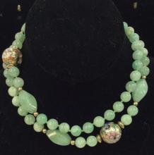 Poss Jadeite Beaded Necklace W Cloisonné Beads
