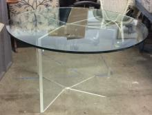 Vintage Glass And Lucite Dining Table