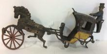 Antique Painted Iron Horse & Buggy Figural