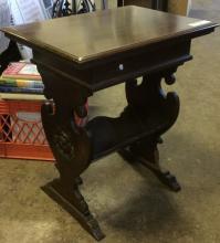 Antique Carved Flip Top Side Table