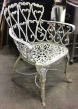 Antique White Scroll Work Iron Arm Chair